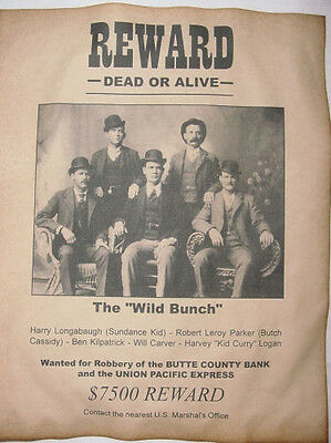 Wild Bunch Gang Wanted Poster, Western, Outlaw, Old West, Butch Cassidy