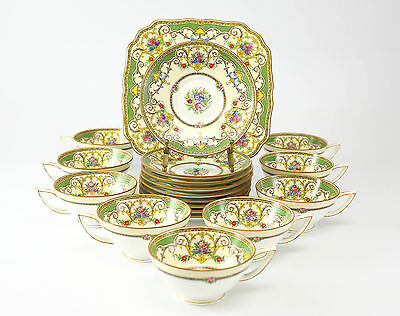 "18pc +1 Minton Tea Cup and Saucer ""Kenora"" Set with Cake Plate; Hand Colored"