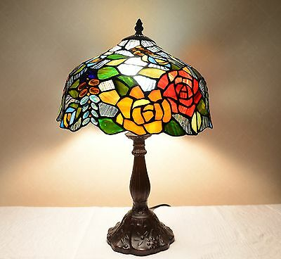 """12""""W Rose Flowers Stained Glass Tiffany Style Table Desk Lamp, Zinc Base!"""