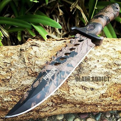 "10.5"" CAMO TACTICAL COMBAT BOWIE HUNTING KNIFE Survival Military Fixed Blade"