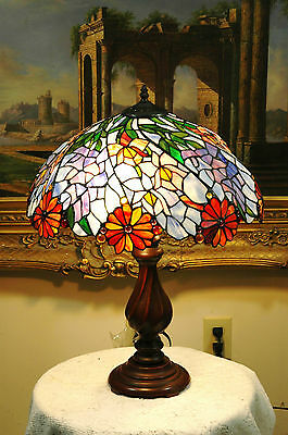 "18""W Flowers Tiffany Style Stained Glass Jeweled Table Desk Lamp, Zinc Base!"