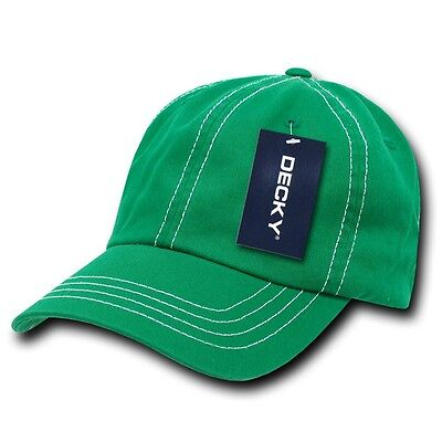 70475f61 Kelly Green & White Washed Cotton Polo Blank Plain Solid Decky Baseball Cap  Hat