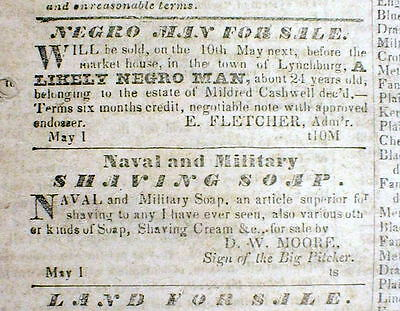1845 Lynchburg Virginia newspaper w front page display ad NEGRO MAN for SALE