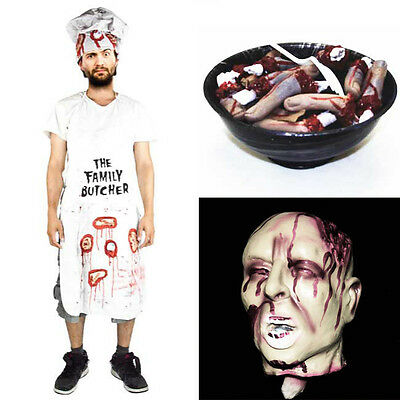 Haunted House Halloween Props Decapitated Head & Butcher Fake Costume Fingers