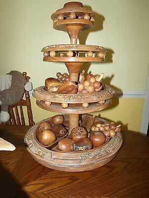 "VTG TIKKI MONKEY? CARVED WOOD LAZY SUSAN 4 TIER FRUIT APPETIZER TRAY 26.5"" TALL"