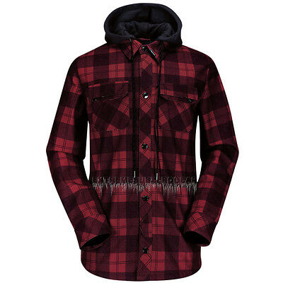 VOLCOM H.R.& S Mens 2015 Snowboard Red Plaid HOOD FLANNEL