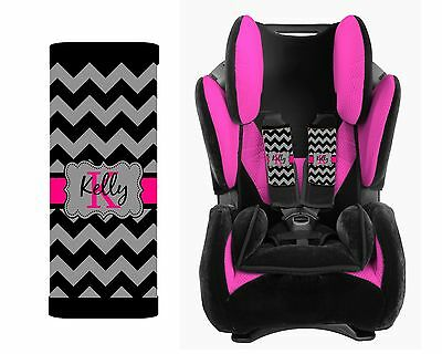 Personalized Baby Toddler Car Seat Strap Covers Gray Chevron Pink
