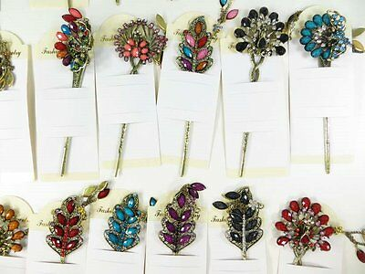 US Seller-$2.85/pc lot of 12vintage hair picks hair pins with imitation gemstone