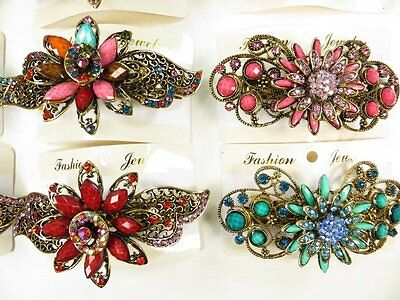 US Seller-lot of 10 pcs wholesale vintage inspired hair barrette crystals