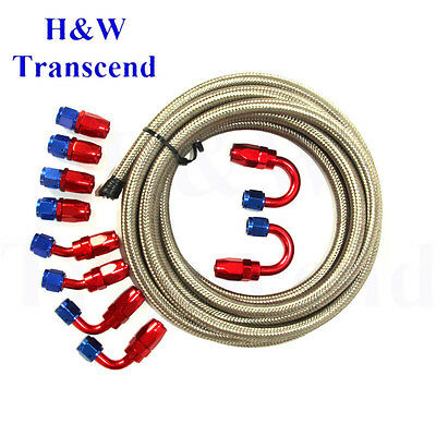 AN8 Stainless Steel Braided OIL FUEL line hose -8-AN +Fitting Hose End Adaptor S