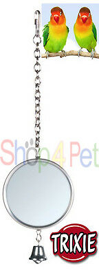 TRIXIE HANGING MIRROR with METAL FRAME & BELL - BUDGIE, CANARY or SMALL BIRDS,