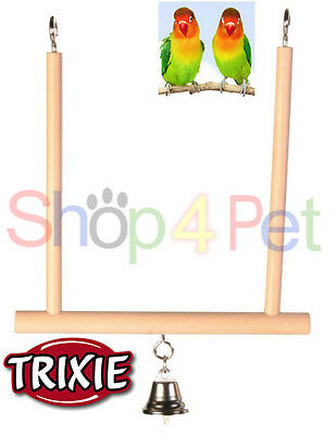 TRIXIE WOOD SWING with BELL - BUDGIE, CANARY or SMALL BIRDS, FUN FOR YOUR BIRD