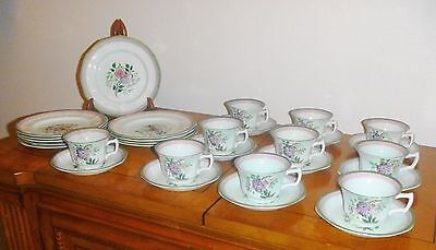 33 pieces Adams England Calyx Ware China Mandolin Green, Cup, Saucer, Plate