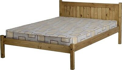 "MAYA DOUBLE 4ft 6"" SOLID DISTRESSED WAX PINE WOOD BED FRAME"