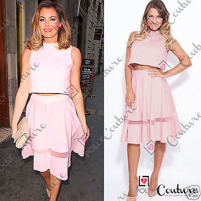 Womens Crop Top and A-Line Skirt Matching Celeb Two Piece Party Dress
