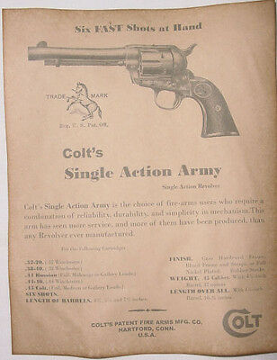Colt Single Action Army Ad Poster, old west, western, wanted, Peacemaker