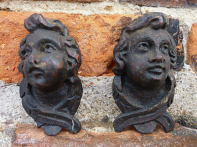 Pair Late 17thC / Early 18th Century Antique Carved Oak Cherubs Puttos Angels
