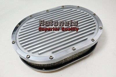 "12"" Oval Elite Aluminum Air Cleaner Finned Stain SBC BBC Chevy/Ford/Mopar polish"