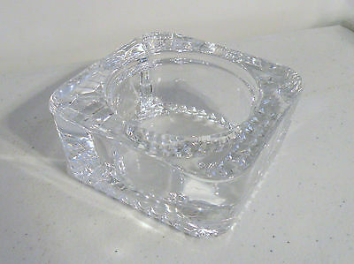 VTG HEAVY LEAD CRYSTAL CUT GLASS CANDLE HOLDER / ASHTRAY MADE IN FRANCE