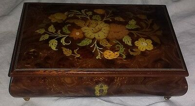 Italian Floral Wood Jewelry Music Box Torna A Surriento Used working NO KEY 8x5