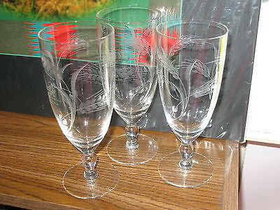 Lot of (2+1)  Etched CUT Wheat Pattern Water Wine Goblet Elegant ,With Stems