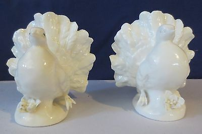Vintage Porcelain White Fantail Turtle Dove Figurine Pair