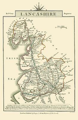 Old Great Britain Map - Lancashire County, England - Cary 1792 - 23 x 35.14
