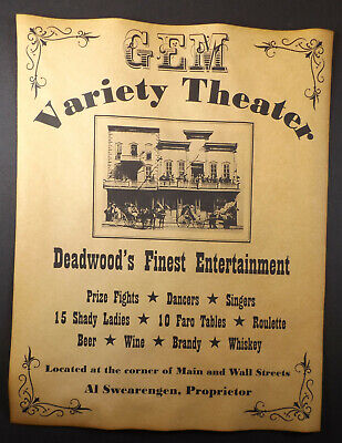 Gem Variety Theater Ad Poster, old west western, Al Swearengen, Deadwood, wanted