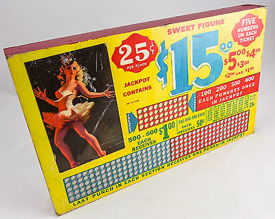 """Vintage """"SWEET FIGURE"""" Blonde Pin-Up Punch Board Game—UNPUNCHED $15. Jackpot"""