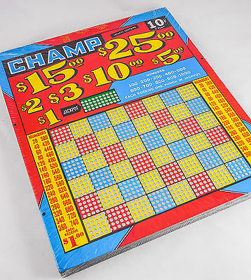 "Vintage ""CHAMP"" Punch Board Game— UN-PUNCHED NEW in Wrap $25. to $5. Jackpot"