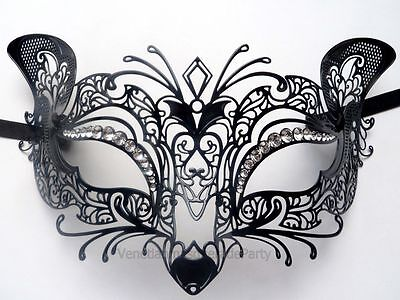 Black Silver Roman Warrior Inspired Butterfly Masquerade Special Event Ball Mask