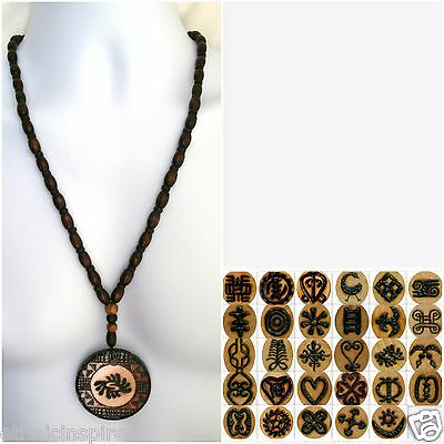 Ethnic Inspired: Mens Womens Africa Adinkra Symbol Necklace Choose Pendant