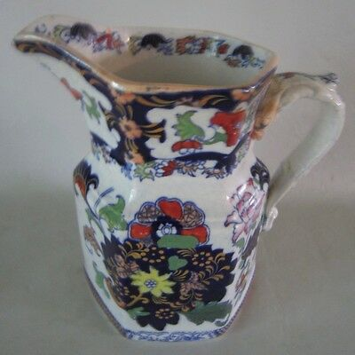 "1800s NEW STONE China Victorian hp Floral JUG PITCHER 7 1/2"" Mason's England"