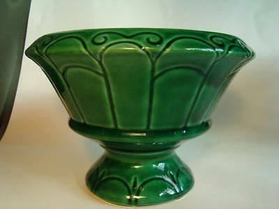 Vintage Brush Footed Planter (Deep Shiny Green - Great Pattern)