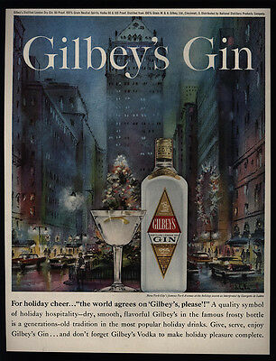 1960 GILBEY's Gin - New York City Park Avenue - DE LATTRE Art - VINTAGE AD