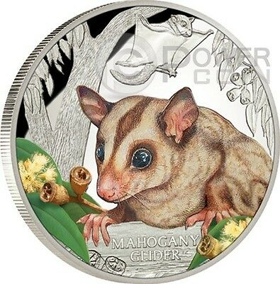 MAHOGANY GLIDER Extinct Endangered 1 oz Silver Proof Coin 1$ Tuvalu 2015