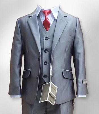 Boys Light Grey 3PC Formal Suit Luxury Wedding Prom Page Boy Suits by Romano