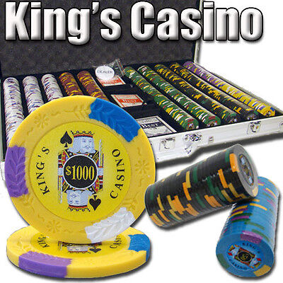 New 1000 Kings Casino 14g Clay Poker Chips Set with Aluminum Case - Pick Chips!