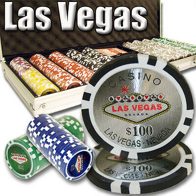 New 500 Las Vegas 14g Clay Poker Chips Set with Aluminum Case - Pick Chips!