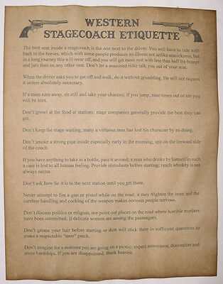 Western Stagecoach Etiquette Rules Poster Notice, stage coach, old west, wanted