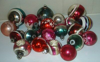 21 vintage Christmas ornaments stripe, indent, stenceled, etc.
