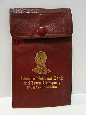 """Vintage """"Lincoln National Bank & Trust Co."""" Fort Wayne, Indiana Coin Wallet Old"""