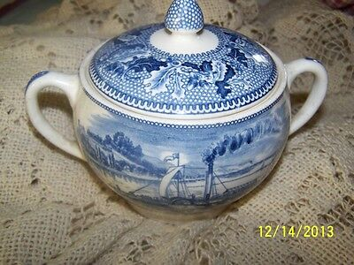 JOHNSON BROTHERS HISTORIC AMERICA COVERED BLUE SUGAR BOWL