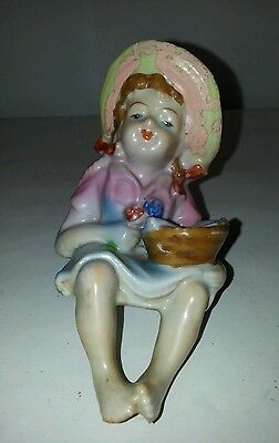 """RARE ART JAPAN 3+"""" BISQUE GIRL HOLDING BASKET FISH w/ CREEL HAT - ADD TO BENCH"""