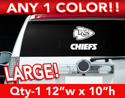 "KANSAS CITY CHIEFS WORD/ARROW LARGE LOGO DECAL STICKER 12""w x 10""h ANY 1 COLOR"
