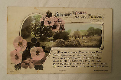 Birthday Wishes to My Friend - England - Collectable -Postcard.