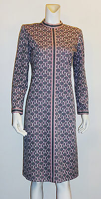 PECK & PECK Fifth Ave Vintage Pink Gray Print Long Sleeve Dress