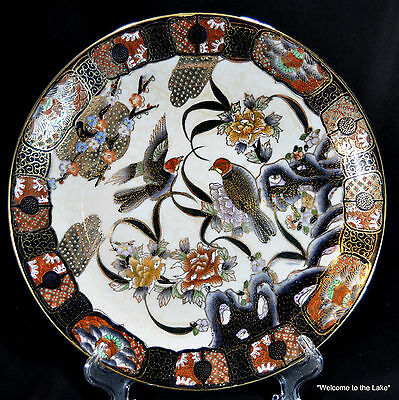 """SATSUMA - Handpainted 10"""" plate with Beaded Gold Gilt, Birds  Flowers"""