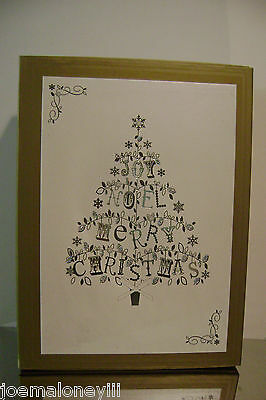 Christmas Cards Boxed Lord & Taylor Silver Christmas Tree Holiday Cards 16/ct