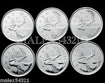 🇨🇦​Canada 2001P To 2005P Complete Caribou 25 Cents Set Unc (6 Coins)